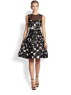 Oscar de la Renta - Printed Illusion Dress