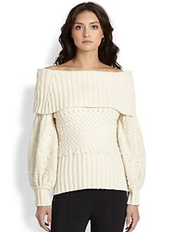 Oscar de la Renta - Off-The-Shoulder Sweater