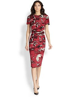 Oscar de la Renta - Toile Print Silk Day Dress