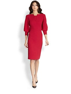 Oscar de la Renta - Wool Lantern-Sleeve Dress