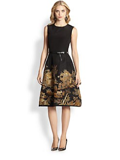Oscar de la Renta - Embroidered Cocktail Dress