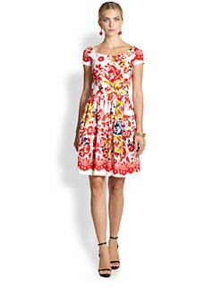 Oscar de la Renta - Scoopneck Floral Dress