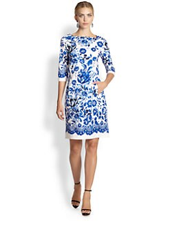 Oscar de la Renta - Three Quarter-Sleeve Floral Dress