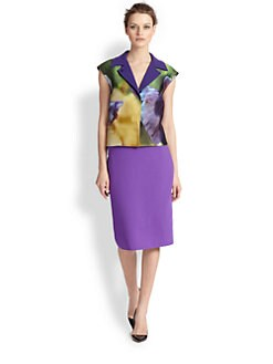 Oscar de la Renta - Iris Print Sleeveless Jacket