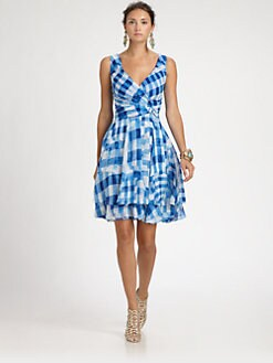 Oscar de la Renta - Gingham-Print Silk Dress