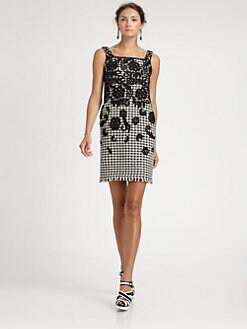 Oscar de la Renta - Lace-Trimmed Houndstooth Dress