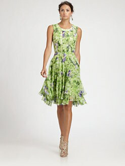 Oscar de la Renta - Floral Silk Dress