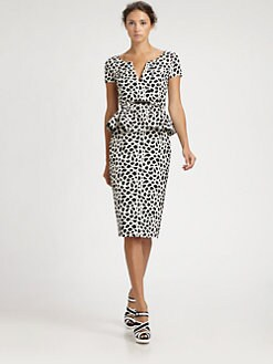 Oscar de la Renta - Camellia Print Peplum Dress