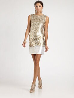 Oscar de la Renta - Sequined Silk Dress