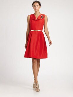 Oscar de la Renta - Silk Faille Dress