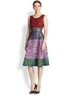 Oscar de la Renta - Embroidered Colorblock Dress