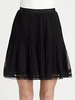 Oscar de la Renta - Pleated Silk Swing Skirt