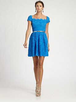 Oscar de la Renta - Chiffon Appliqu&eacute;d Dress
