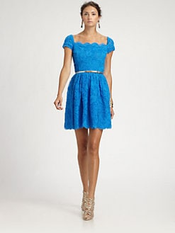 Oscar de la Renta - Chiffon Appliquéd Dress