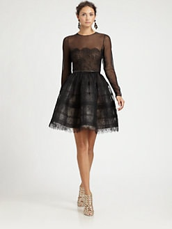 Oscar de la Renta - Sheer Lace Cocktail Dress