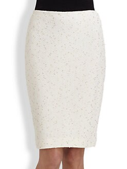 St. John - Metallic Flecked Bouclé Knit Skirt