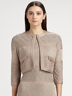 St. John - Textural Stripe Metallic Crop Jacket