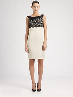 St. John - Sequined Lace-Bodice Dress