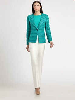 St. John - Braided Trim-Striped Knit Jacket