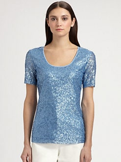 St. John - Sequined Mesh and Crepe Top