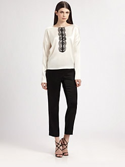 St. John - Lace-Trimmed Liquid Satin Blouse
