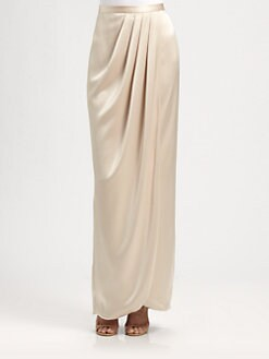St. John - Liquid Satin Faux Wrap Skirt