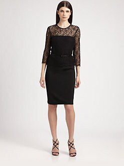 St. John - Belted Lace Bodice Dress