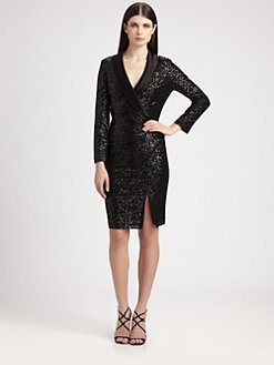 St. John - Satin Lapel Sequined Dress