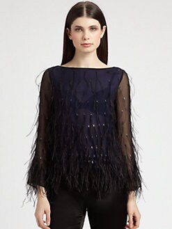 St. John - Feather-Trimmed Silk Chiffon Blouse