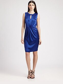 St. John - Liquid Satin Keyhole Dress