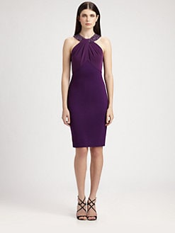 St. John - Crepe-Bodice Milano Knit Dress