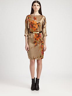 St. John - Floral Silk Stretch Charmeuse Dress