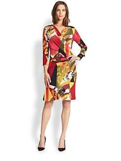 Josie Natori - Three Quarter-Sleeve Printed Dress