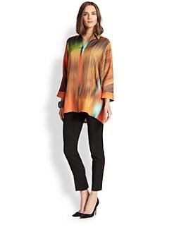 Josie Natori - Oversized Silk Twill Shirt