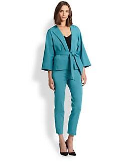 Josie Natori - Stretch Cotton Tie Jacket