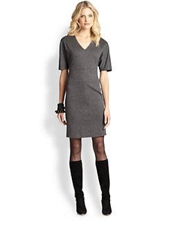Josie Natori - Ponte Short-Sleeve V-Neck Dress