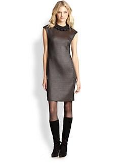 Josie Natori - Textured Jewelneck Dress