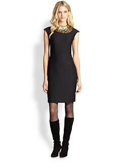 Josie Natori - Sleeveless Textured Sheath Dress