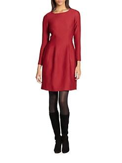 Josie Natori - Textured Long-Sleeve Dress