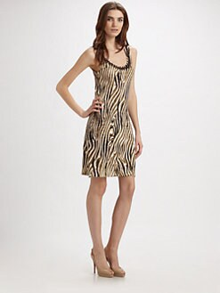 Josie Natori - Savanna Beaded Silk Tank Dress