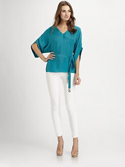 Josie Natori - Woven V-Neck Top