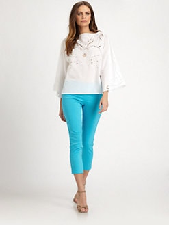 Josie Natori - Cotton/Silk Emboidered Top