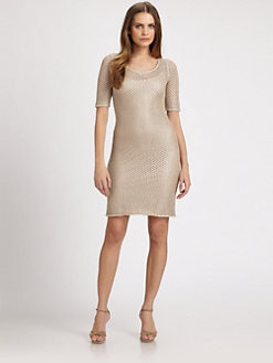 Josie Natori - Metallic Crochet Dress