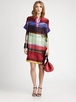 Josie Natori - Printed Silk Caftan Dress