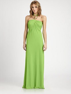 Josie Natori - Metal-Necklace Halter Dress