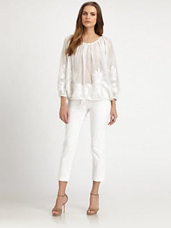 Josie Natori - Cotton/Silk Peasant Blouse
