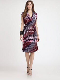 Josie Natori - Printed-Jersey Cowlneck Dress