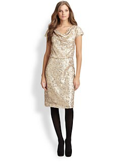 Josie Natori - Sequin Cowlneck Dress