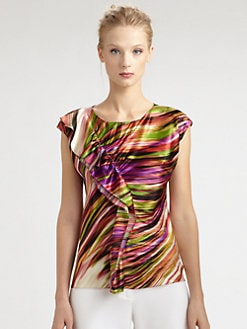 Josie Natori - Silk Ruffle-Front Top