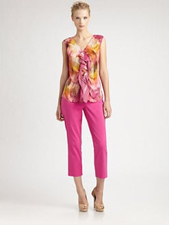Josie Natori - Printed Silk Top